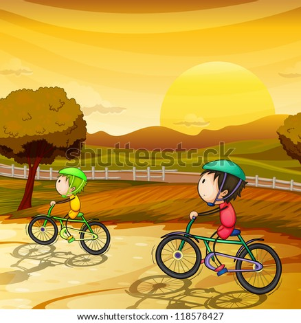 illustration of kids in a beautiful nature - stock photo