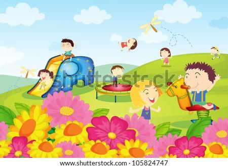 Kids Park Drawing Illustration of Kids Playing