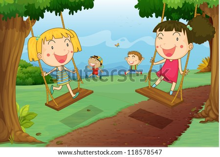 illustration of kids playing in a beautiful nature - stock photo