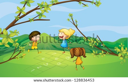 Illustration of kids playing near the mountain - stock photo