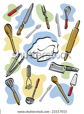 Illustration of kitchen utensils surrounding a chef's hat. Vector also available. - stock photo