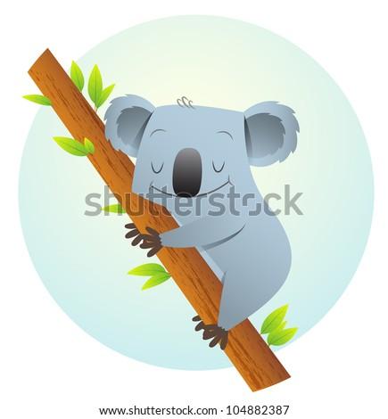 Illustration of Koala on the tree - stock photo