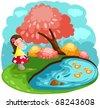 illustration of landscape cute little fairy girl blowing flowers - stock photo