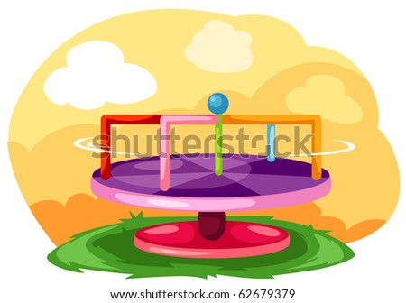 illustration of landscape playground merry-go-round - stock photo