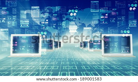Illustration of laptop computer connected to global internet network and doing data processing - stock photo