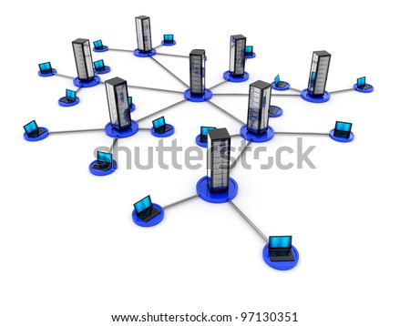 Illustration of laptop network connected to server isolated on white background - stock photo