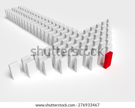 Illustration of leader leads the team forward - stock photo