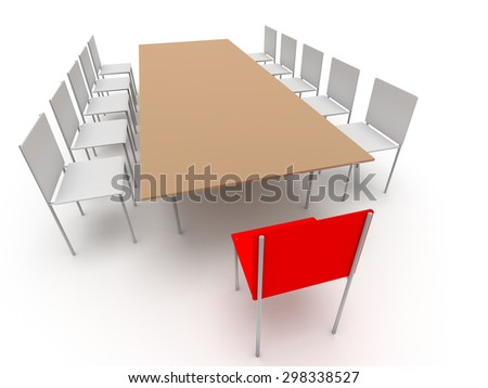 Illustration of leadership in the company. Chairs and table - stock photo