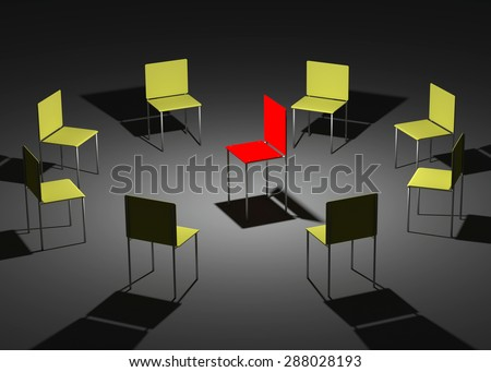 Illustration of leadership in the company. One red and eight yellow chairs - stock photo