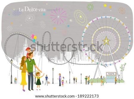 Illustration of life at playground - stock photo
