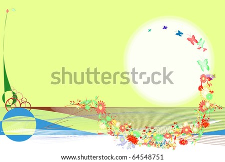 Illustration of lines, butterflies and flowers - stock photo