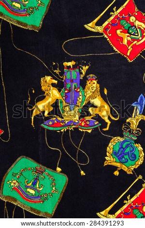 Illustration of lion print on fabric. - stock photo