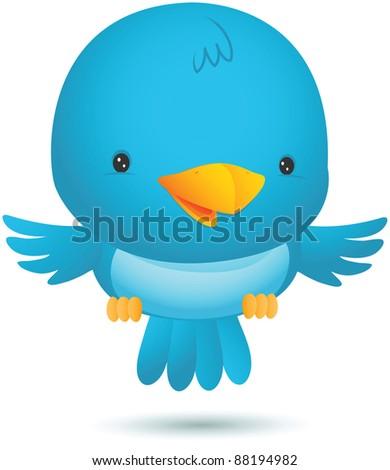 Illustration of Little Blue Bird Fly - stock photo