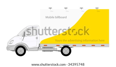 Illustration of LKW truck with mobile billboard - stock photo