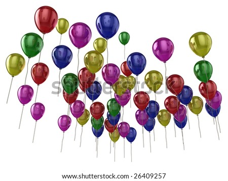 Illustration of lots of colourful (colorful) balloons isolated on a white background. - stock photo