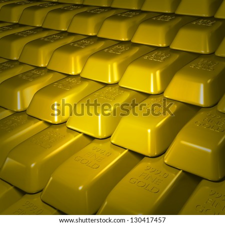 Illustration of lots of Gold bullion bars stacked - stock photo