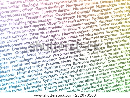 Illustration of lots of text showing titles of professions with gradient effect - stock photo