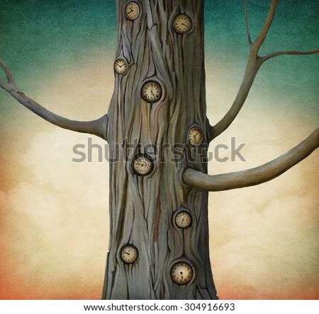 Illustration of  magic tree time to clock - stock photo