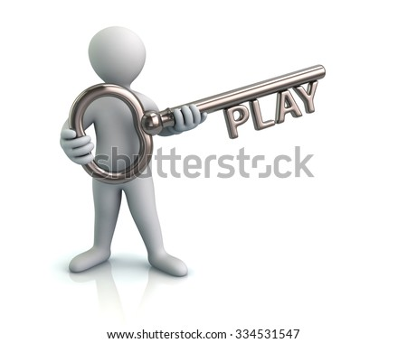 Illustration of man and silver key with word play - stock photo