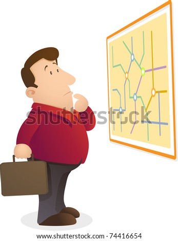 Illustration of man confuse reading a map - stock photo