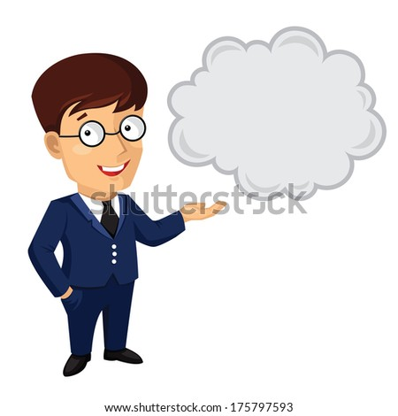 Illustration of man in blue suit and glasses talking - stock photo