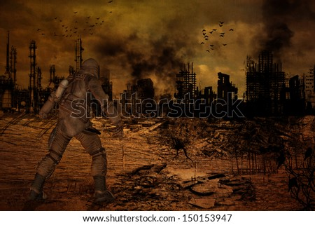 Illustration of man standing in front of a destroyed city - stock photo