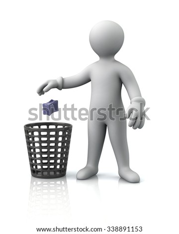 Illustration of man throwing garbage in a trash can - stock photo