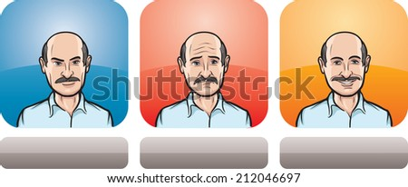 illustration of man with mustaches face in three expressions: neutral, sad and happy - stock photo
