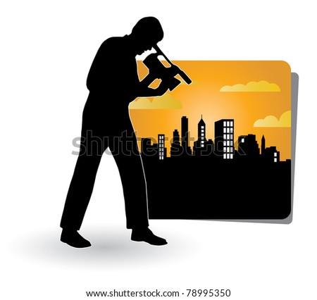 Illustration of man with video movie camera - stock photo