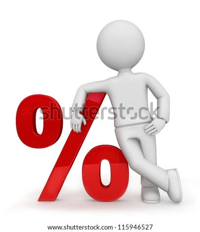 Illustration of mannequin leaning against a percent sign isolated on a white background. - stock photo