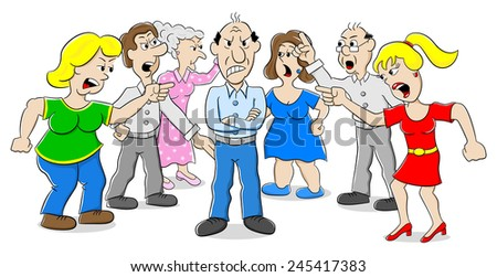 illustration of many people arguing with each other - stock photo