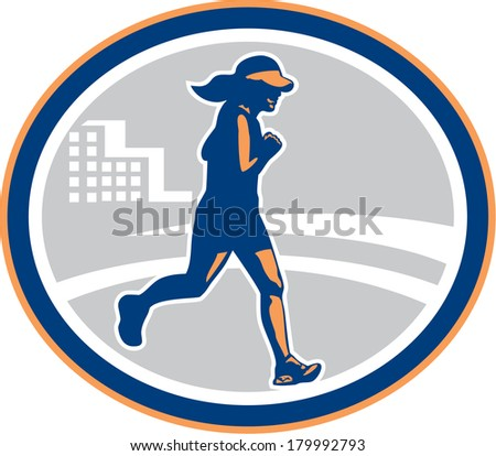 Illustration of marathon triathlete runner running race viewed from side set inside circle with building on isolated background done in retro style. - stock photo