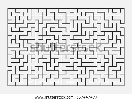 Illustration of maze / labyrinth on white background. - stock photo