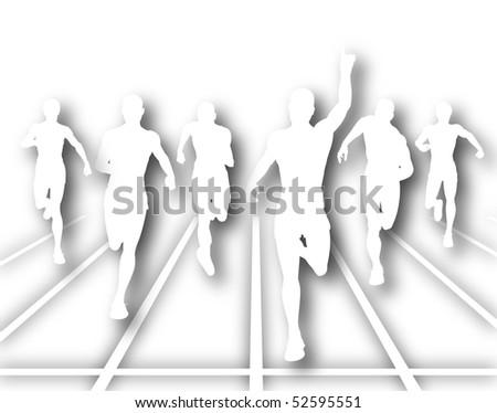 Illustration of men finishing a sprint race - stock photo