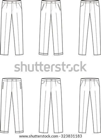 Illustration of men's business pants. Front and back views. Raster version - stock photo