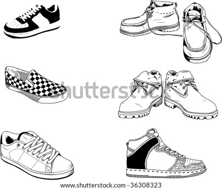 Illustration of men shoes for the everyday life in the street. Good for all type of fashion design for example. - stock photo