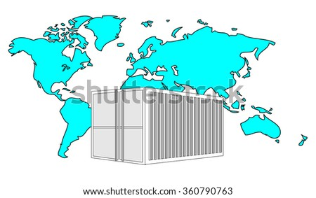 Illustration of metal 40 ft sea container with light blue world map  - stock photo