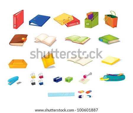 Illustration of mixed stationary office items - EPS VECTOR format also available in my portfolio. - stock photo