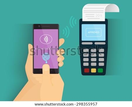 Illustration of mobile payment via smartphone using fingerprint identification. - stock photo