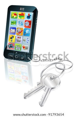 Illustration of mobile phone with keys attached. Concept for secure phone access or phone unlocking. - stock photo