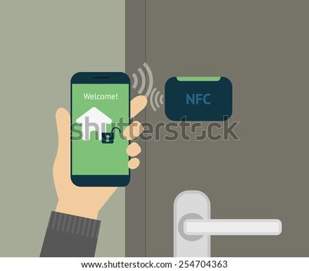 Illustration of mobile unlocking home door via smartphone. - stock photo