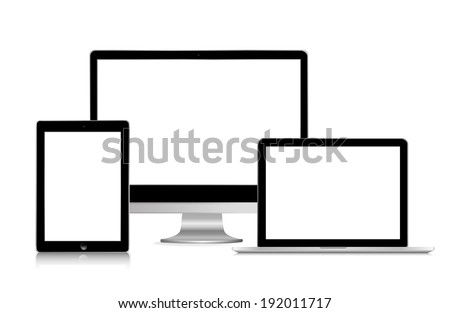 illustration of modern gadgets on a white background - stock photo