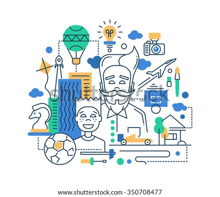 Illustration of modern line flat design happy father and son composition with  infographics elements - stock photo