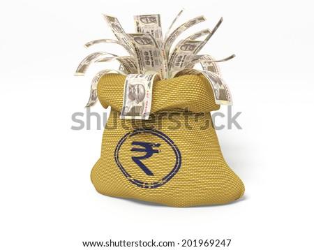 illustration of money bag full of dollar - stock photo
