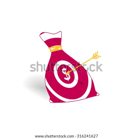 Illustration of money bag icon with aim and arrow. Money earning concept - stock photo