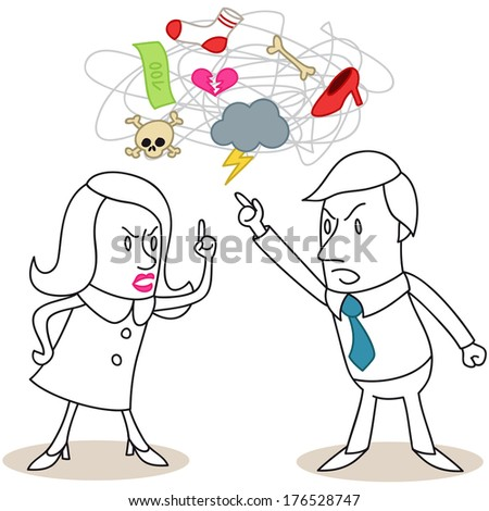 Illustration of monochrome cartoon characters: Man and woman having a heated discussion about relationship issues (vector also available). - stock photo