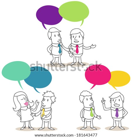Illustration of monochrome cartoon characters: Set of pairs of business people with colorful speech bubbles having conversations. - stock photo