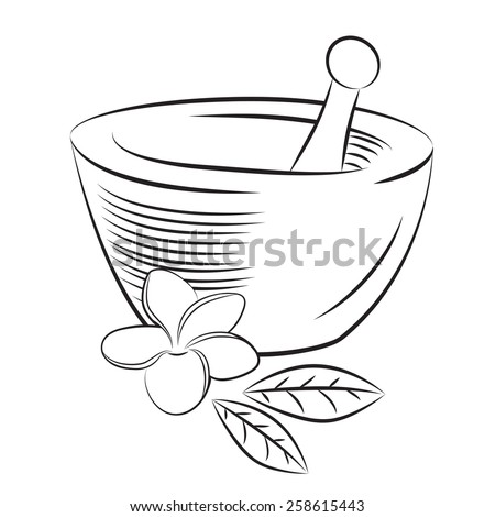 Illustration of mortar and pestle with frangipani (Plumeria) flower and leaves in graphic minimalistic style - stock photo