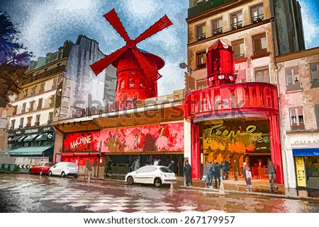 Illustration of Moulin Rouge in Paris - stock photo