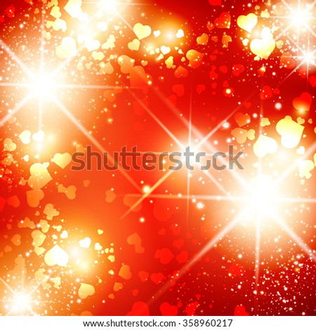Illustration of Multicolored Heart St.Valentine Day Bright Disco Background - stock photo